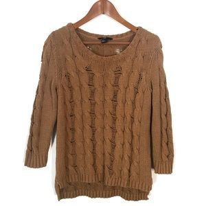H&M 3/4 Sleeve Cable Knit Sweater Top
